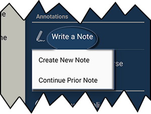 Create New Note or Continue Prior Note