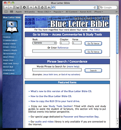 Viewing the Blue Letter Bible CD in the Safari browser You can stop OnrKyz1B